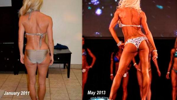 Результаты девушки до и после тренировок